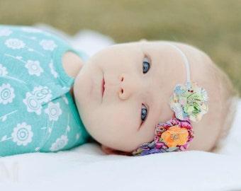 Olivia- Fabric Flowers Headband (Features three flowers)