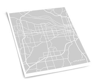 Little Rock Map Art City Print / Arkansas Poster Dorm Decor Wall Art / 8x10 Grad Gift / Choose your color