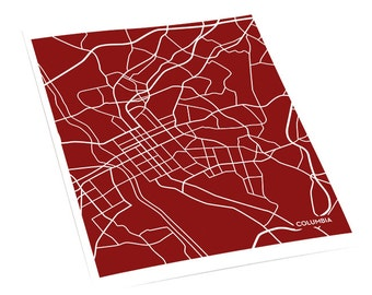 Columbia SC City Map Wall Poster / University of South Carolina USC Line Art Grad Gift / 8x10 Digital Print / Personalized colors