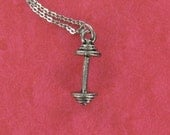 BARBELL Necklace - Pewter Charm on a FREE Plated Chain