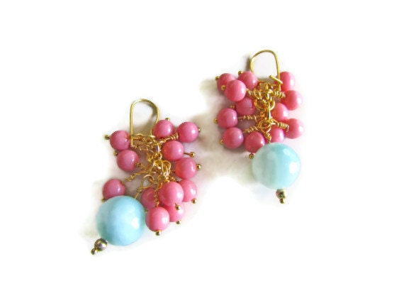 Coral & Teal Vine Earrings - Gold Dangle
