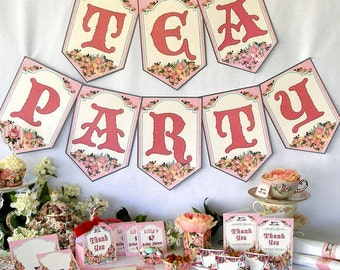 Tea Party Banner Bunting Printable Instant Download