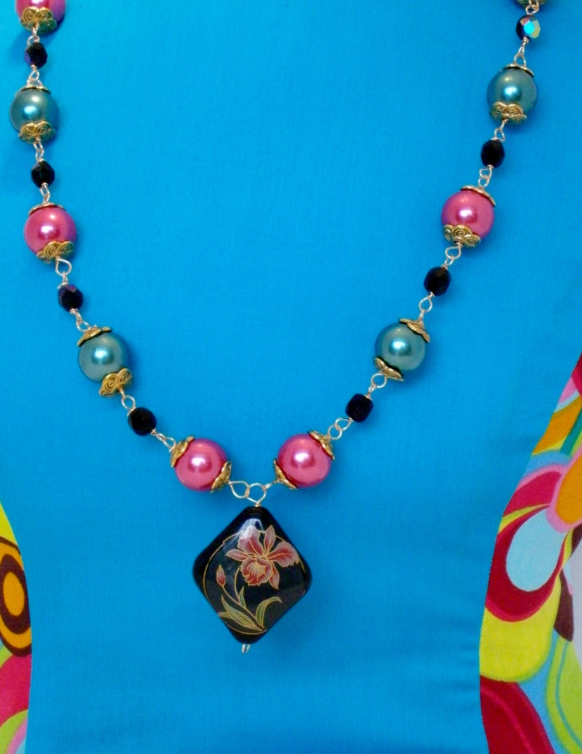Necklace cloisonne necklace black and pink by for Red black and green jewelry