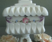 Westmoreland Square Milk Glass Candy Dish / Signed Westmoreland Collectible Lidded Dish/Wedding Gift