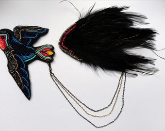 "Bird jewelry brooch with feather shoulder pad and chain ""The Swallow Brings You Great News"" - MADE TO ORDER"