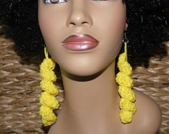 Spiral Crochet Earrings- Yellow