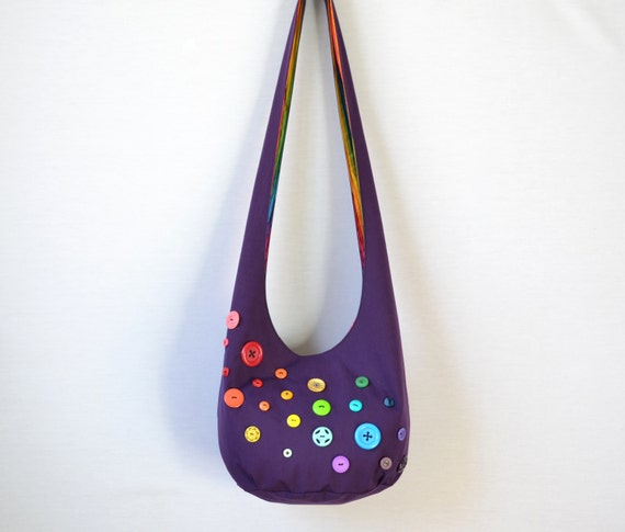 Rainbow Buttons Hobo Bag, Sling Bag, Bright, Colorful, Plum, Stripes, Hippie Purse, Crossbody Bag