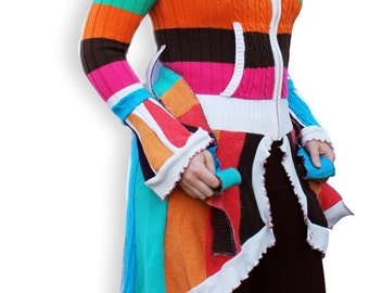 SALE 50% OFF! Upcycled sweater coat, rainbow colors