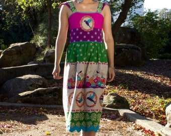 Birdie Dress. One of  Kind. Hand Sewn with Applique & Beading Details.