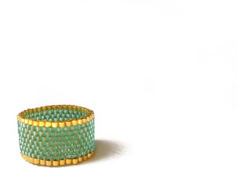Emerald Green Ring, Seed Beaded Ring, Green and Gold Bead Jewelry, UK Seller