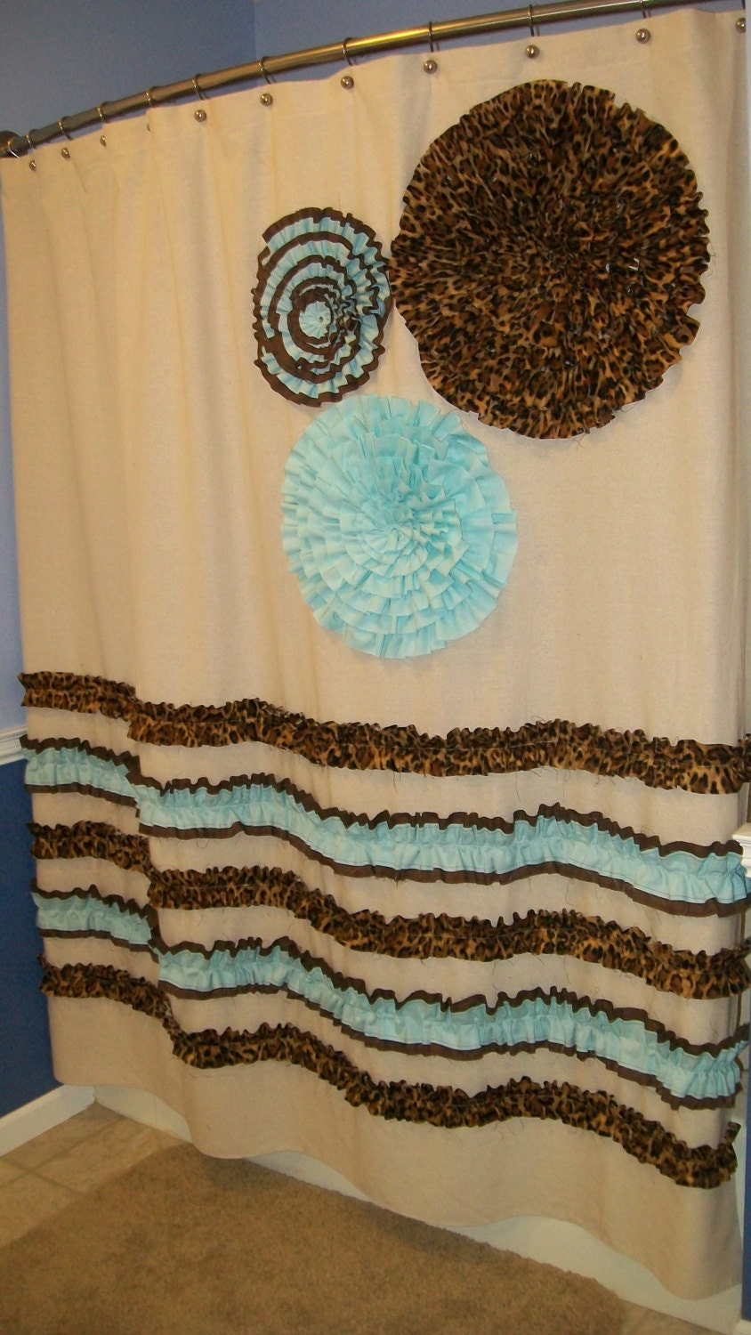 Brown And Teal Shower Curtain Cheyenne Turquoise Sho