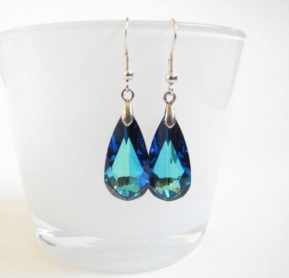 Bermuda Blue Wedding Earrings , Bermuda Blue Crystal Earrings , Wedding jewelry , Formal earrings
