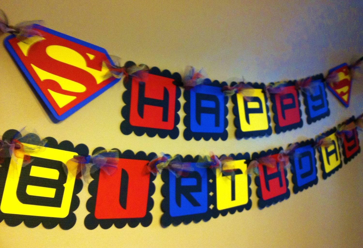 superman inspired happy birthday banner