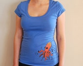 Orange Octopus on Dark Blue Scoop-Neck Tee S, M, L
