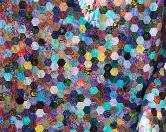 Batik Hexagon Patchwork Quilt Handmade by PingWynny