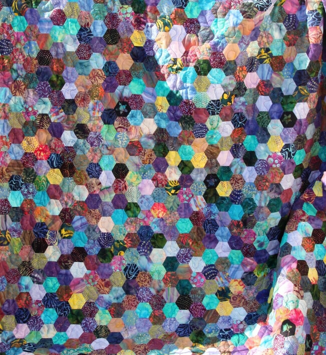 Batik Hexagon Patchwork Quilt Handmade by PingWynny : patchwork quilt handmade - Adamdwight.com
