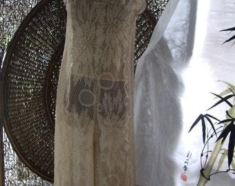 Custom Tan wide leg palapolozza high fashion lace jumpsuit,  Ready to ship med sz  8 10