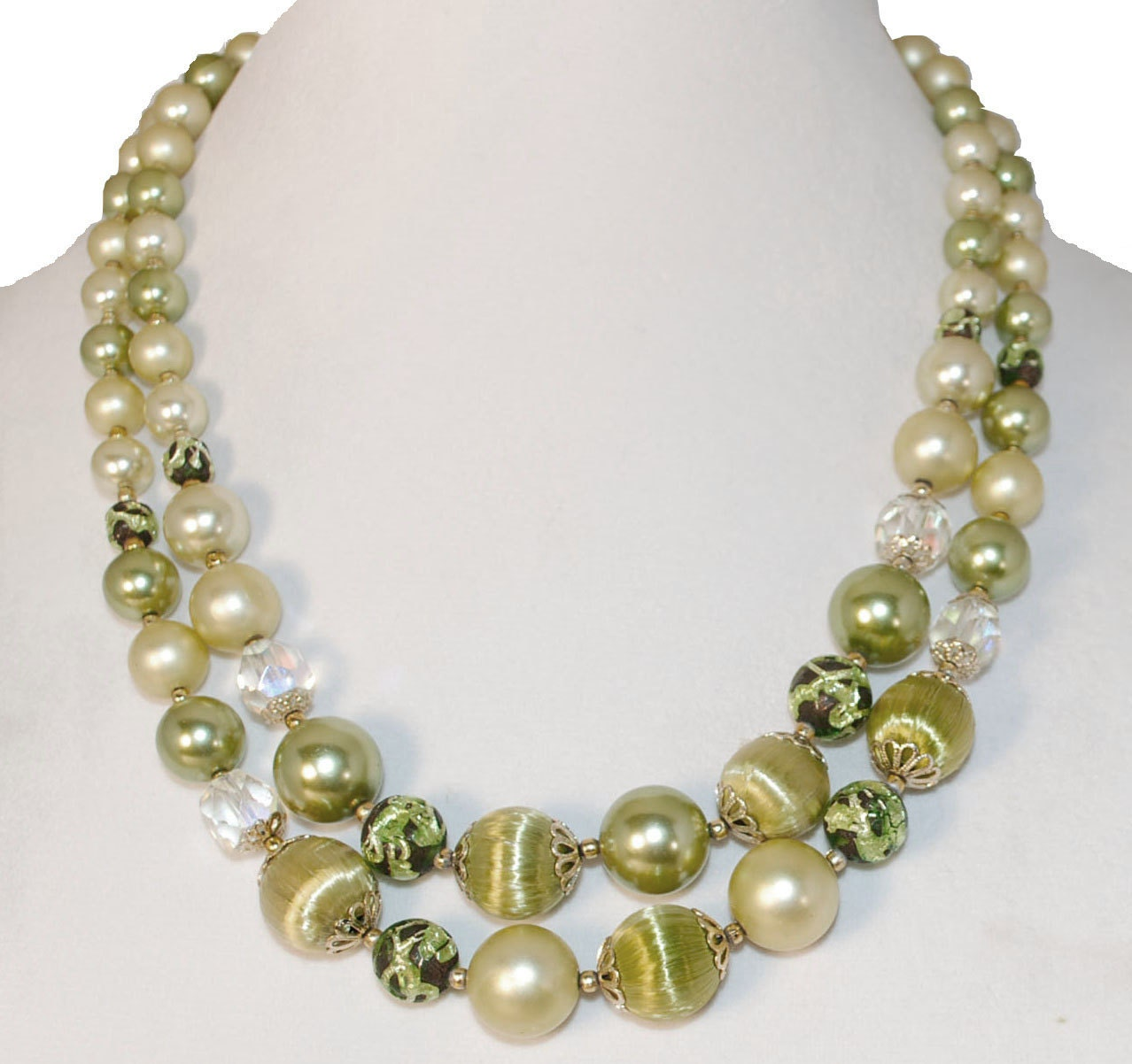 green beaded necklace foiled silk by