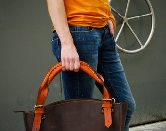 Brown and orange leather  bag