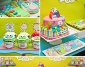 Owl Birthday Party - Look Whoo's Turning - PRINTABLE Personalized Party Package - Chevron Party