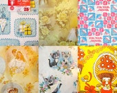 Vintage Shower-Themed Wrapping Paper Lot