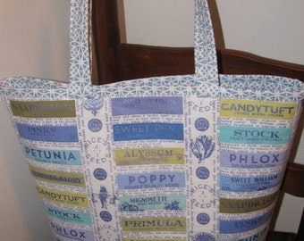Tote, Market Bag, Library Bag, Vintage Look fabric, Work Tote, Seeds, Seed Catalog