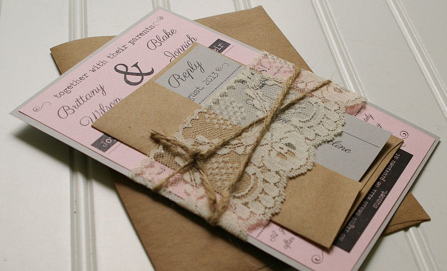 Custom Made Wedding Invitations: Twine And Lace Wedding Invitations: Kraft Paper. Rustic