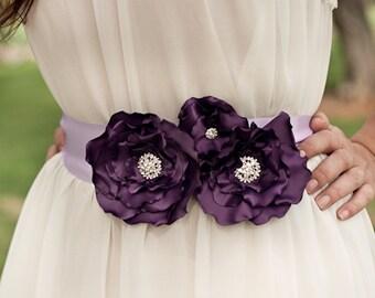 Purple Plum Bridal Flower Sash, Wedding Flower Belt, Rhinestone Brooch Sash, Bridal Dress Sash, Purple Wedding Accessories, Bridesmaids