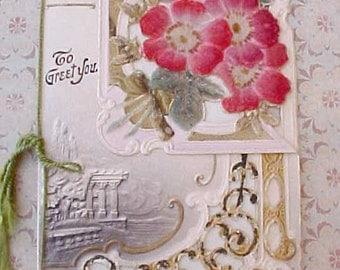 Gorgeous Embossed Die Cut Victorian Card with Velvet Flowers