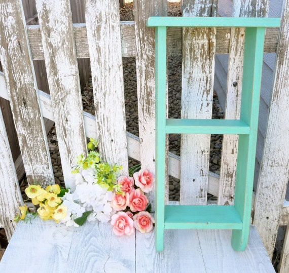 Teal shabby chic ladder style hanging wall by huckleberryvntg - Telas shabby chic ...
