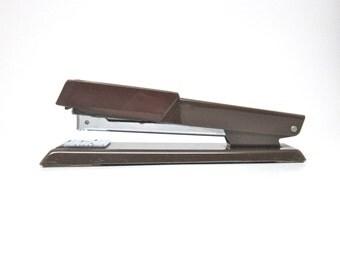 Vintage Stapler Bates 640 Brown Stapler Faux Wood