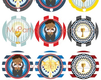 DIY Printable Little Boy 1st Communion Cupcake Toppers p l u s EASY & FREE instructions to add text to your files