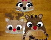 Rudolph Reindeer Hat - Crochet Pattern 57 - US and UK Terms -  Beanie and Earflap - Newborn to Adult - Instant DOWNLOAD