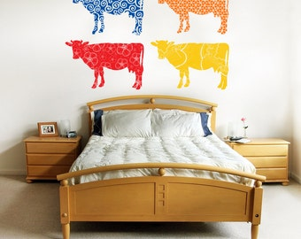 Cow silhouette wall decal- set of four cow decals with geometric pattern