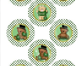 DIY Irish Bears Digital Image Sheet for Buttons