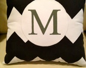 Black and White Chevron Monogrammed Appliqued Throw pillow or pillow cover