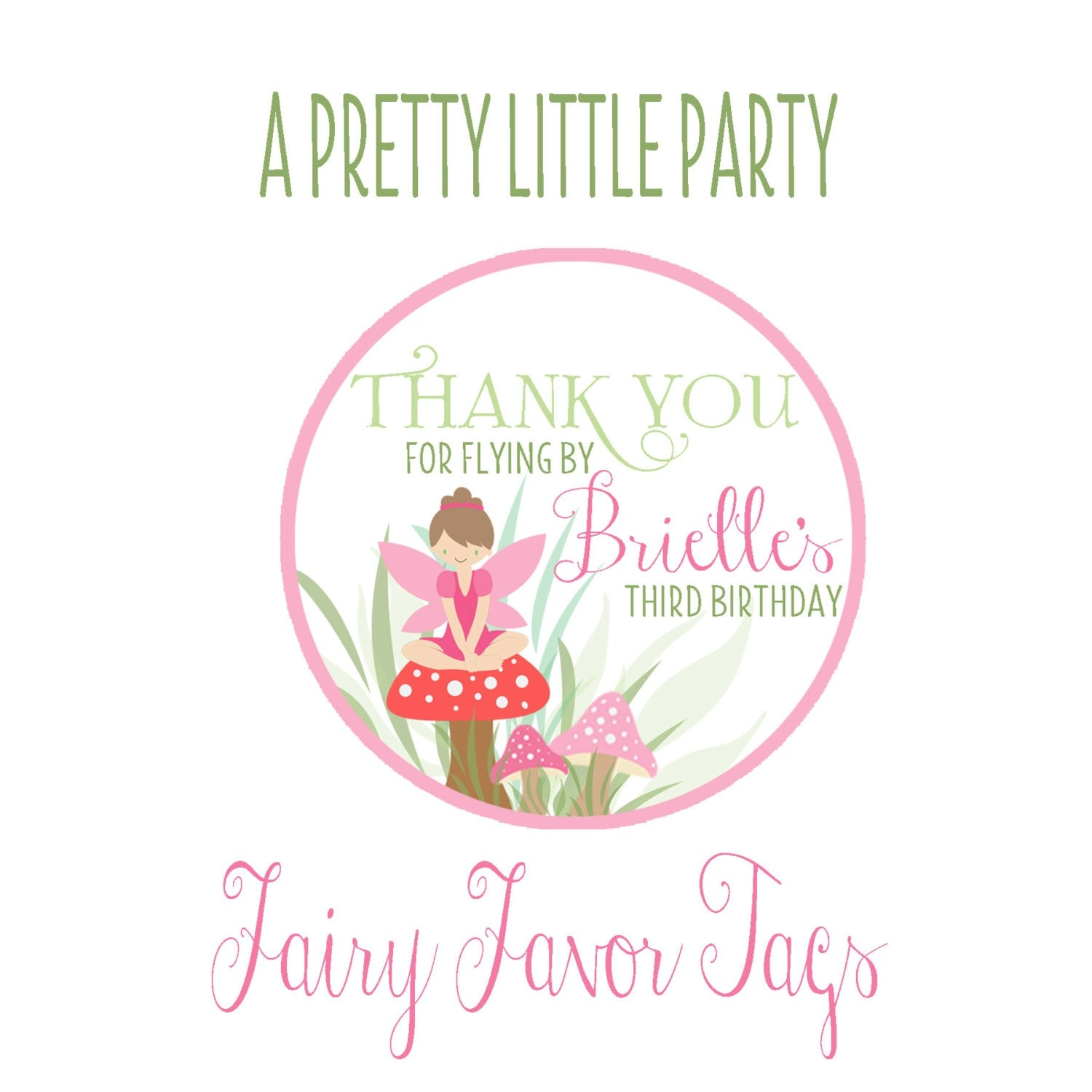 Custom FAIRY Favor Tags - FAIRY Party - Pixie -Party Supplies
