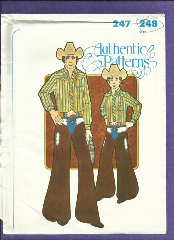Vintage Authentic Patterns 248 Batwing Chaps for Kids True Rodeo Cowboy Cut Sizes S-M-L UNCUT