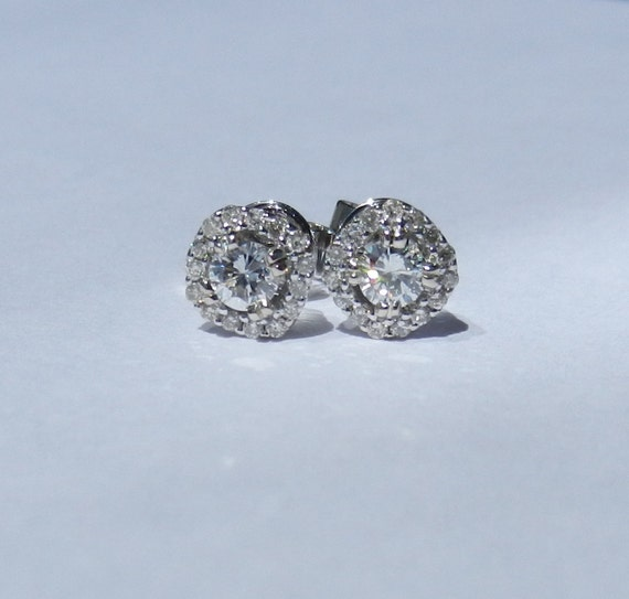 Untreated Natural .56 Carat Diamond Earrings 14kt Solid Gold w/ Screw Backings