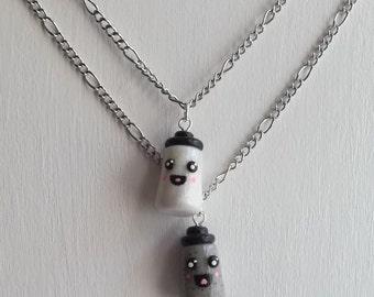 Salt and Pepper Best Friend Necklace Set