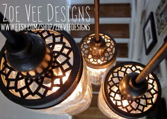 Pre-Wired 5 Pack, Custom Aluminum Lids For Mason Jar Pendant Lighting, Includes Phenolic Lamp Sockets w/ 8' Pendant Cords