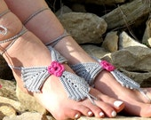 Crochet barefoot sandals gray pink sandals, foot decoration  leaf sandals,wedding lace sexy yoga anklet beach pool, Bellydance