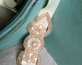 Ivory and Champagne Beaded Ribbon Headband