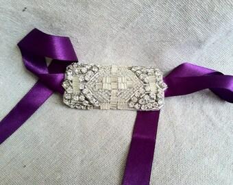 Purple and Rhinestone Ribbon Bracelet