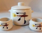 Retro Westbend Crock and Bowl Set Ceramic Mid Century
