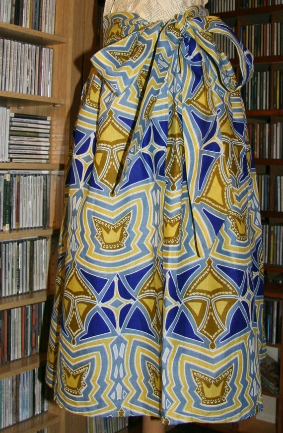 Blue, White and Yellow Knee-length African Wax-print Summer Cotton Skirt , Size M
