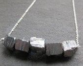 metallic silver pyrite CUBES titanium coated crystals sterling silver necklace
