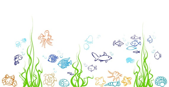 Fish Wall Decal Nursery Underwater Wall Decal Under The Sea