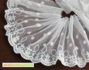 2 Yards Cream Lace Fabric,Bridal,Cream Color,Floral,Dots,Embroidery,12cm width,Sewing,Fabric--Other Color (DL37)
