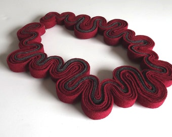 Ecofriendly Felt Necklace Felted Jewelry Statement Red Necklace Wine Maroon Ox Blood